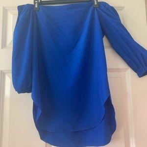 Amanda U. electric blue off the shoulder blouse